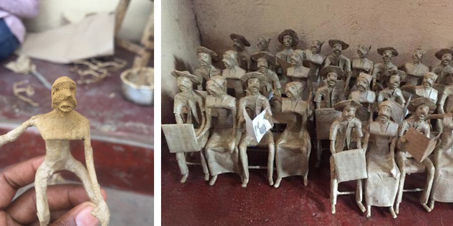 Works in progress, papier-mache figures waiting for paint. Natural kraft colored recycled paper.