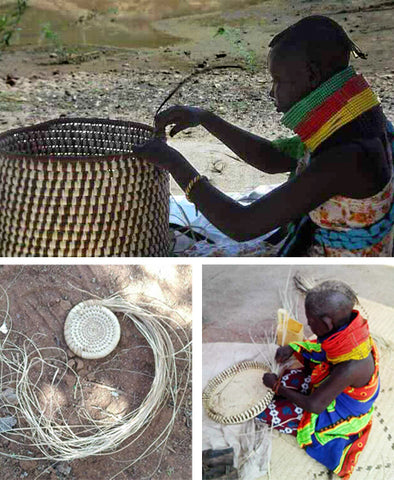 Turkana weavers, handweaving baskets