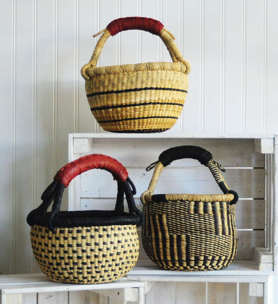 Assorted Navy & Natural Baby Bolga Baskets from Ghana