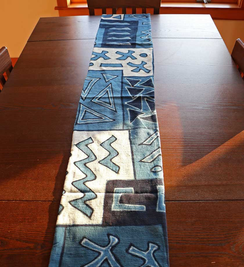 African Indigo Mudcloth Table Runner   Home Decor Handmade In Africa    Swahili Modern   4 ...