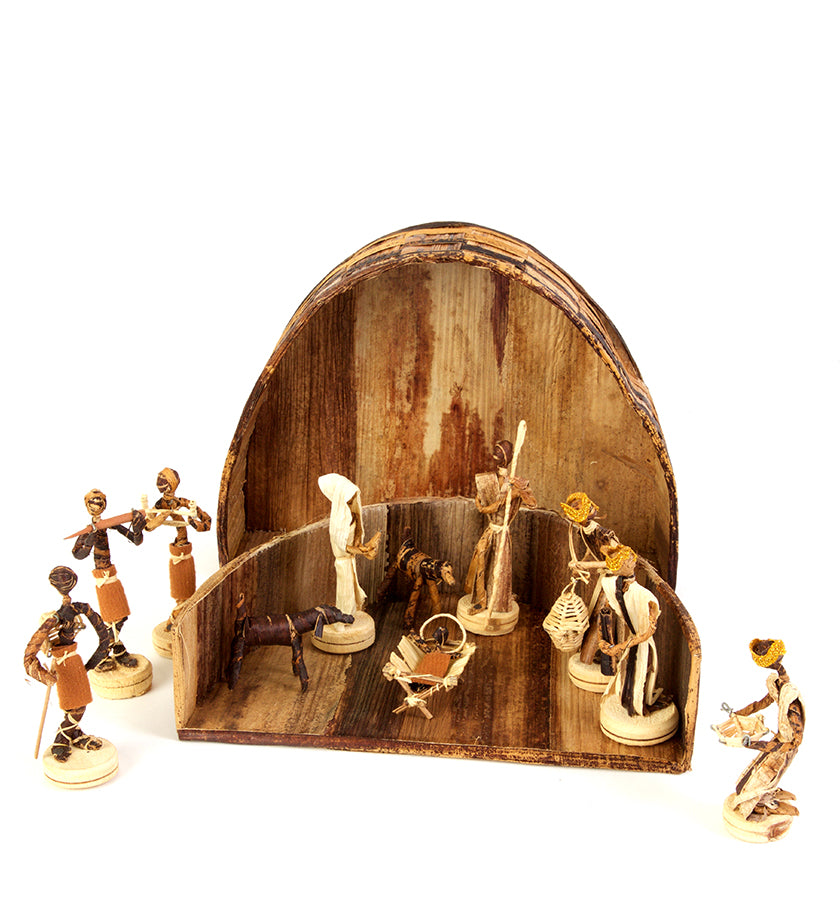 Banana Fiber Nativity with Barn