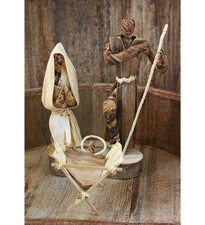 Banana Fiber Nativity with Barn - Christmas Handmade in Africa - Swahili Modern - 4