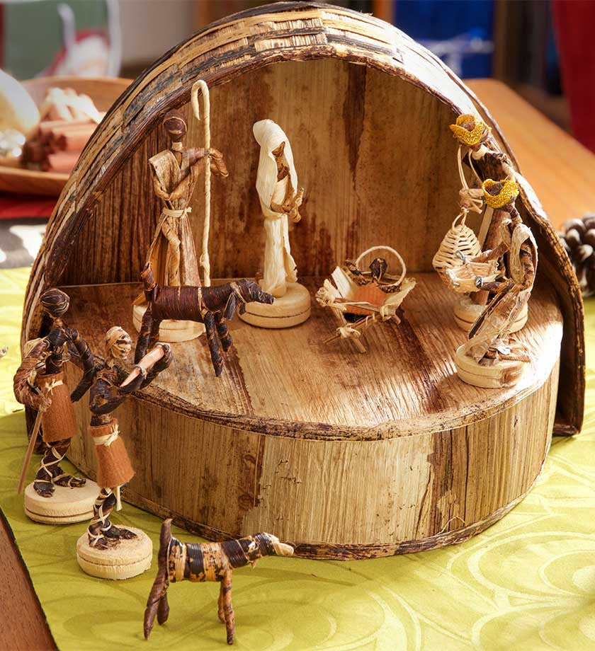Banana Fiber Nativity with Barn - Christmas Handmade in Africa - Swahili Modern - 6