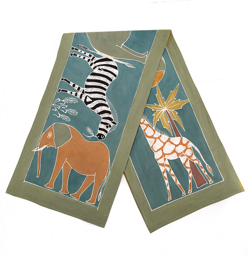 Safari Animals Hand-Painted Table Runner in Green Earth