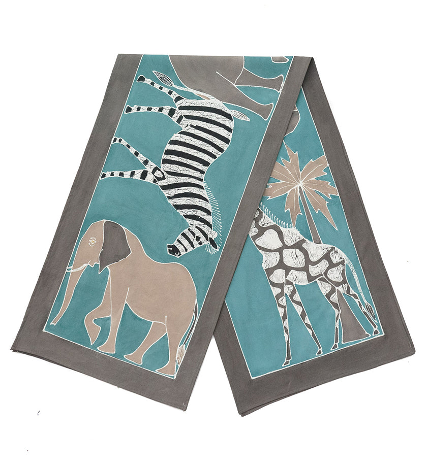 Safari Animals Hand-Painted Table Runner in Sky