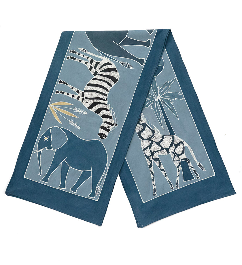 Safari Animals Hand-Painted Table Runner in Indigo