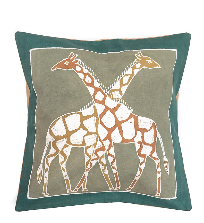 Hand Painted Giraffe Pillow in Green Earth