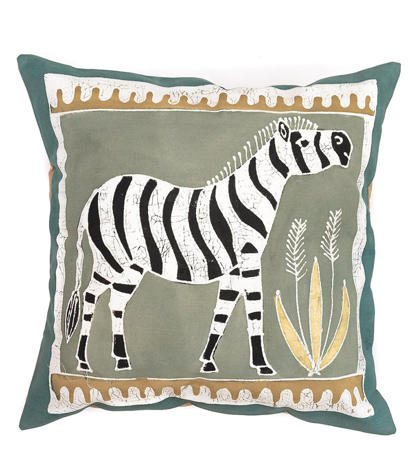 Hand Painted Zebra Pillow in Green Earth