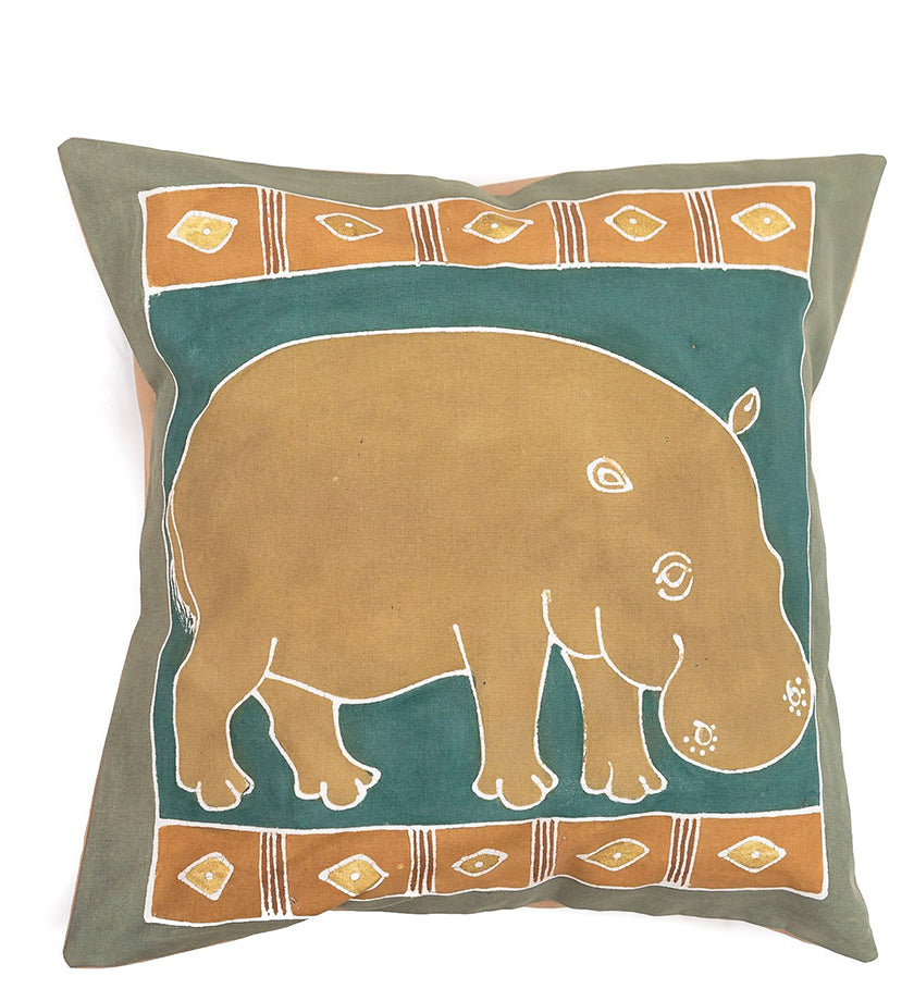 Hand Painted Hippo Pillow in Green Earth