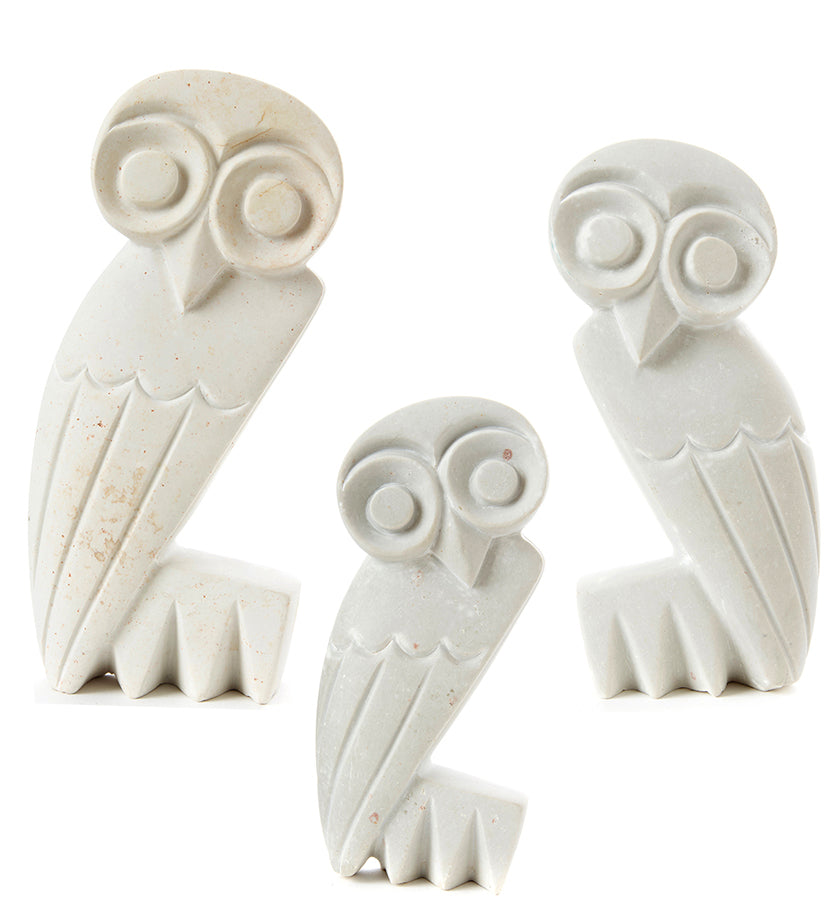 White Serpentine Stone Owl Sculptures from Zimbabwe