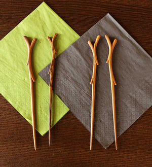 Two Pairs of Wooden Branch Chopsticks - Kitchen Handmade in Africa - Swahili Modern - 5
