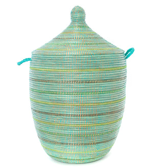 Handmade African Seaside Stripes Hamper Basket