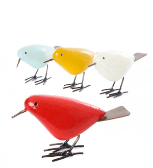 Set of Four Colorful Painted Stone & Metal Birds