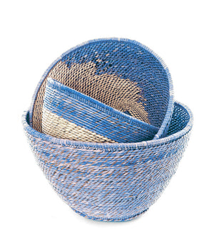 Set of Three Cobalt Nesting Baskets from Zambia