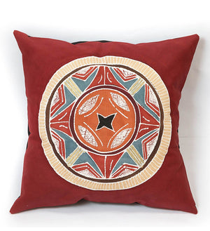 Hand Painted Maasai Red African Circles Pillow