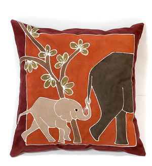 Hand Painted Baby Elephant Pillow in Burnt Earth