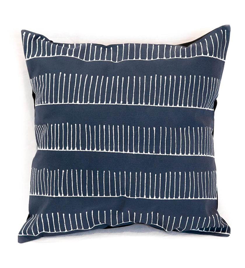 Hand Painted Indigo Rake Design Pillow