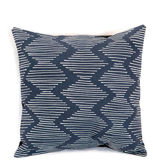 Hand Painted Indigo Wavy Line Pillow