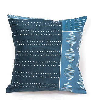 Hand Painted Indigo Patchwork Pillow