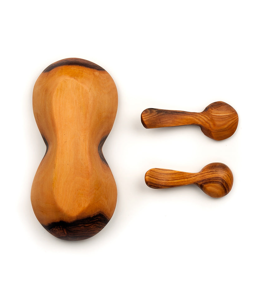 Double Olive Wood Spice Bowl with Spoons