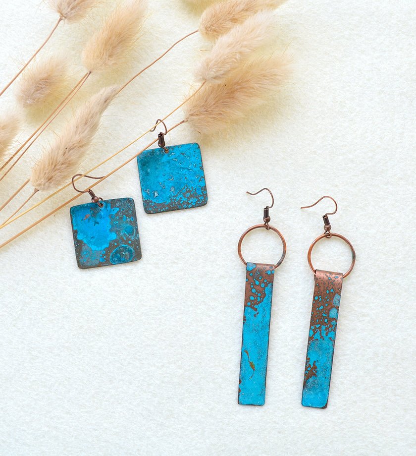 F.R.E.E. Woman Copper Viridian Emblem Earrings
