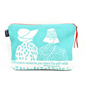 """A Friend is Someone"" African Proverb Pouch in Aqua or Plum"
