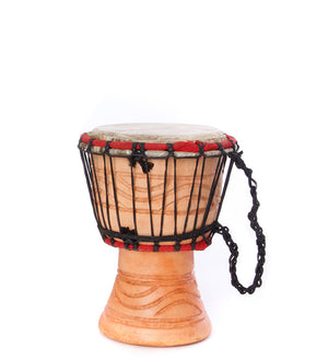 Small Ghanaian Djembe Hand Drums in Natural Wood