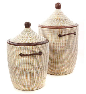 Set/2 White Laundry Baskets with Dark Leather Accents