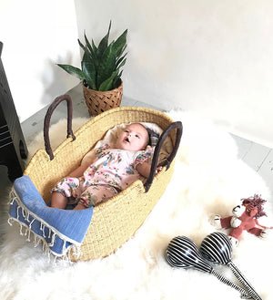 Baby in a handwoven Moses basket
