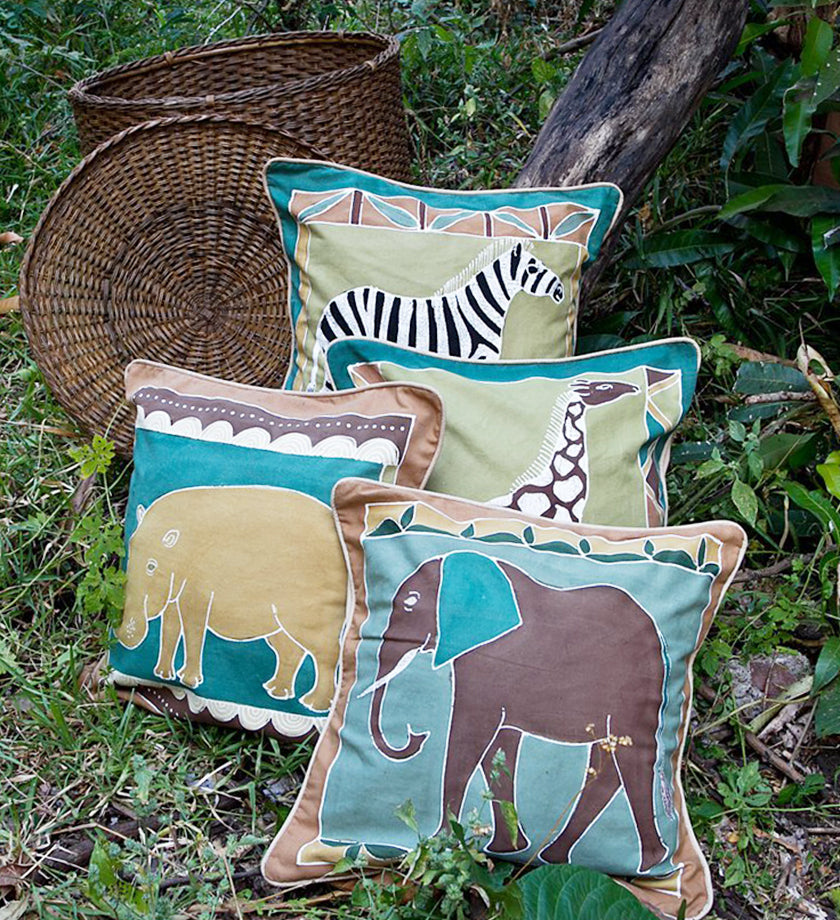 Hand Painted Elephant Pillow in Green Earth