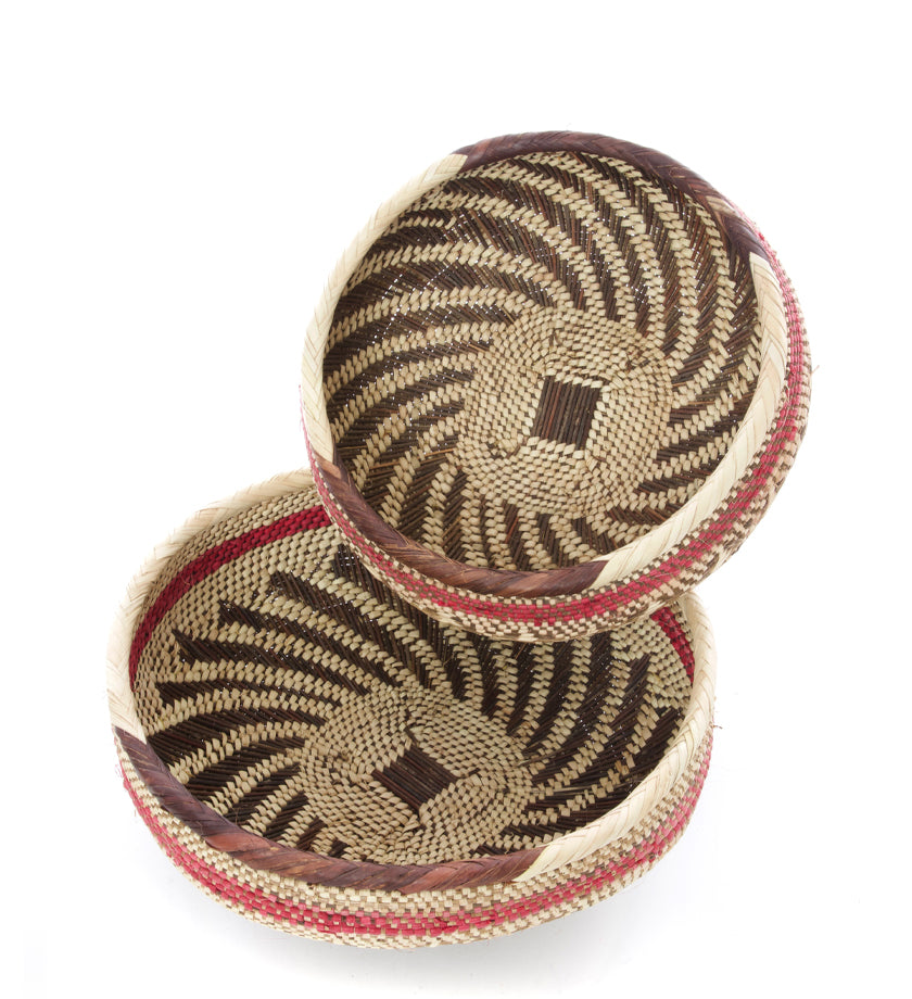 Set of Two Amaranth Zambian Nesting Baskets