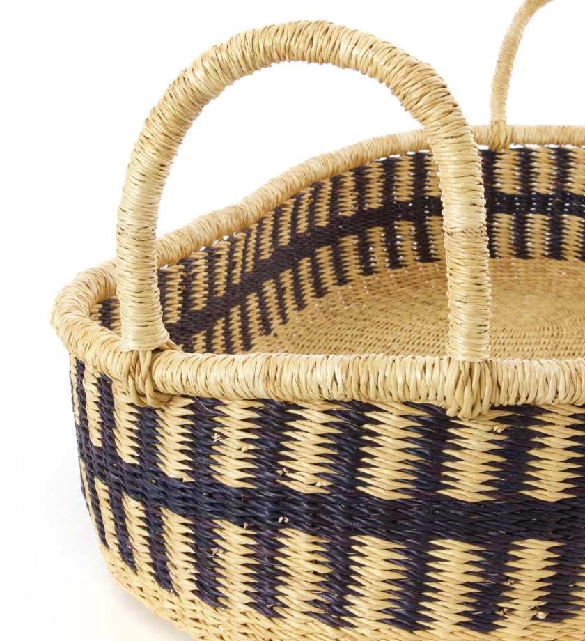 Ghanaian Navy Striped Veta Vera Oval Basket