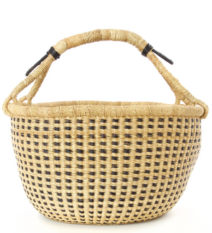 Midnight and Natural Checkered Bolga Decor Basket