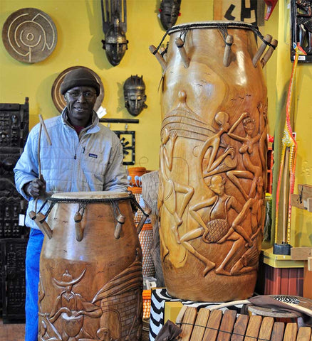 "48"" Mahogany Talking Drums - One-of-a-Kind Handmade in Africa - Swahili Modern - 1"