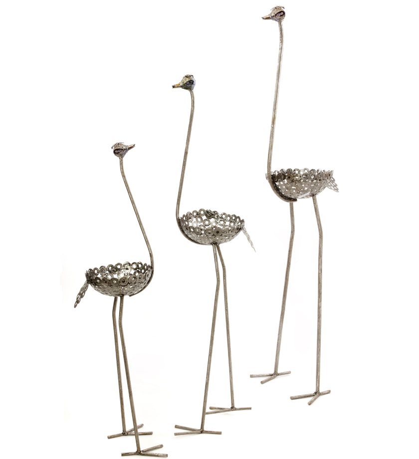 Tall Recycled Metal Ostrich Planters