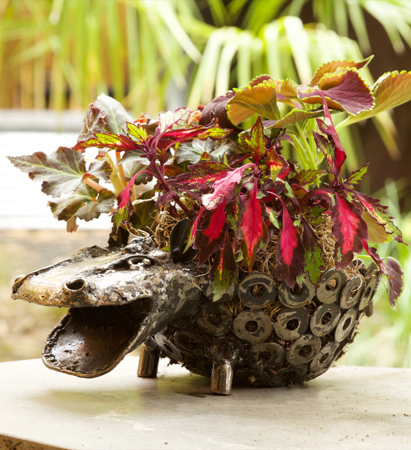 Recycled Metal Hippo Planter