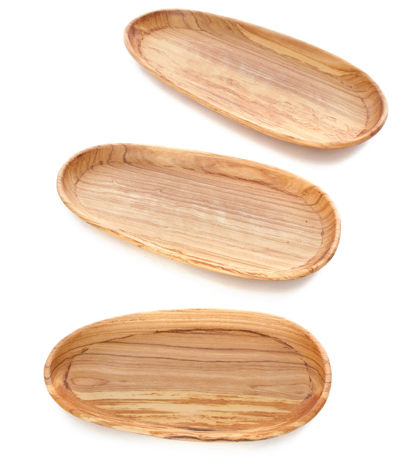 Set/3 Shallow Olive Wood Serving Bowls
