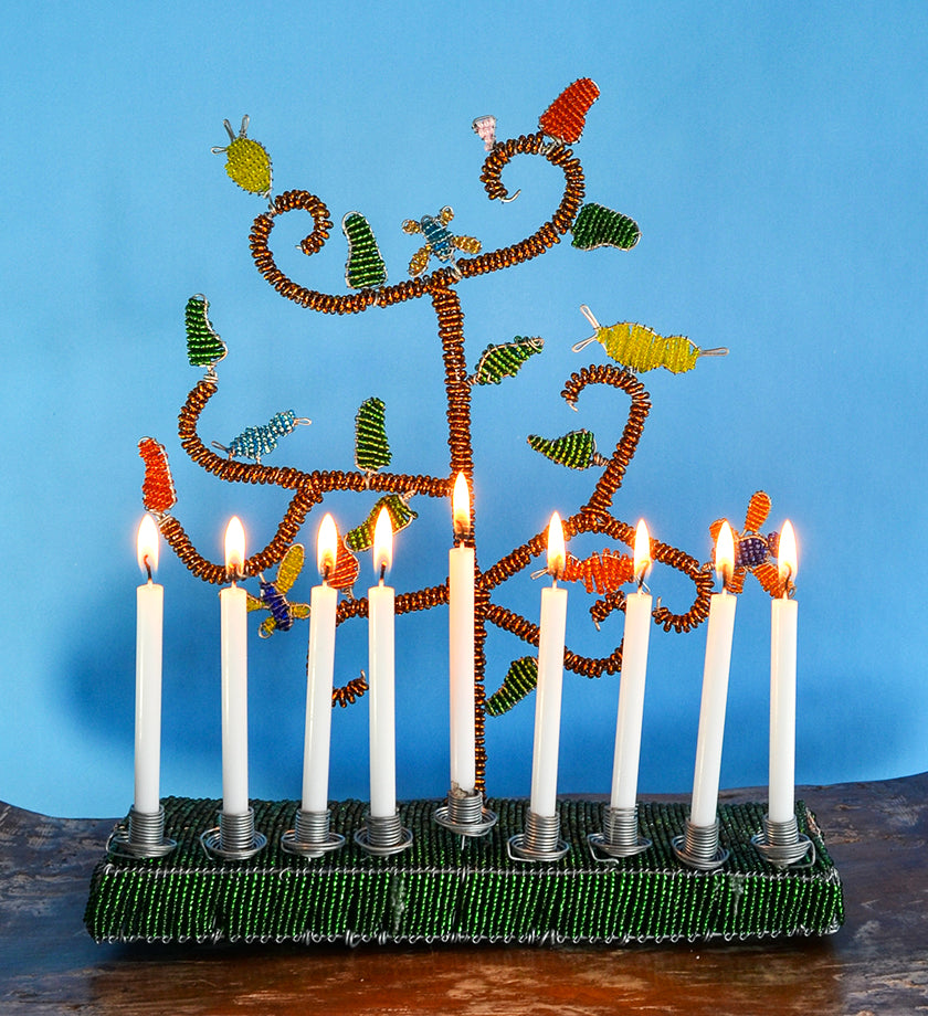 Green African Tree of Life Beaded Hanukkah Menorah