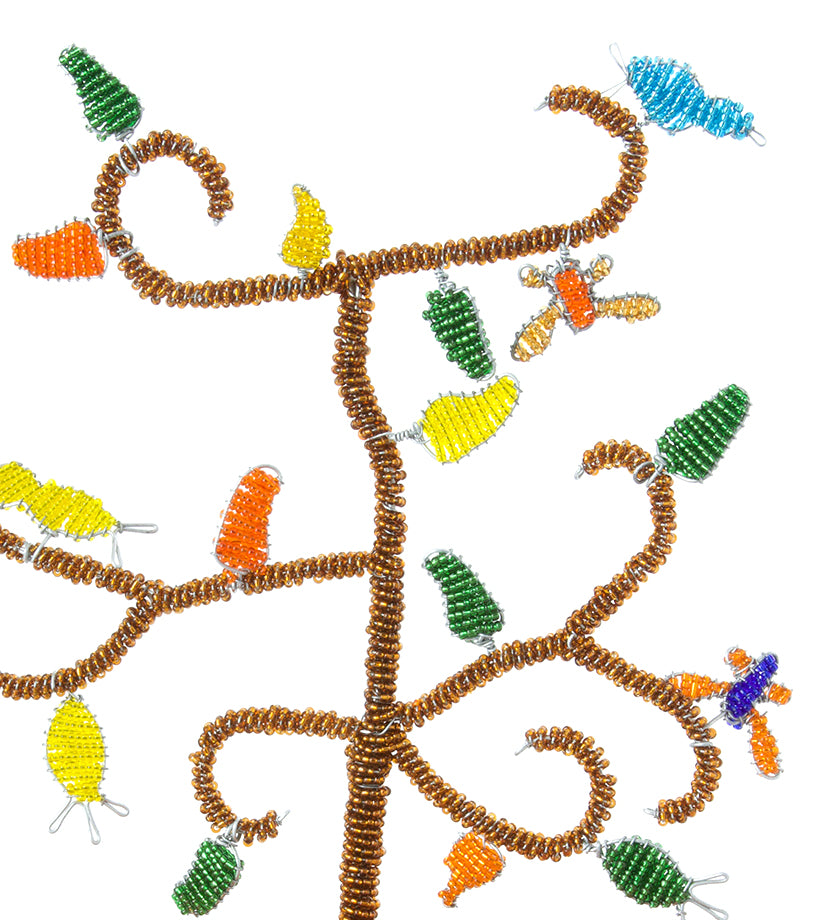 Orange African Tree of Life Beaded Hanukkah Menorah