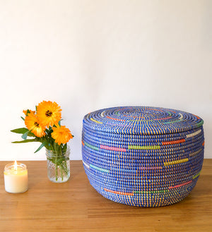 Flat Lidded Blue Basket with Multi Color Swirl