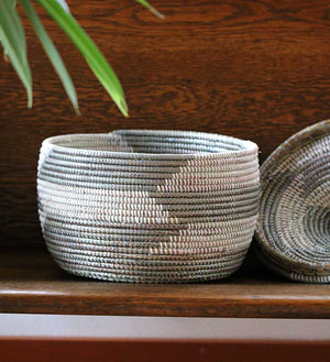 African Woven Warming Basket - Silver - Basket Handmade in Africa - Swahili Modern - 2