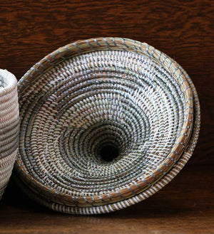 African Woven Warming Basket - Silver - Basket Handmade in Africa - Swahili Modern - 3