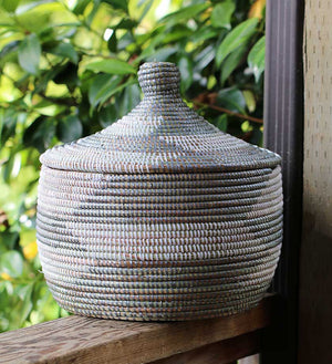 African Woven Warming Basket - Silver - Basket Handmade in Africa - Swahili Modern - 5