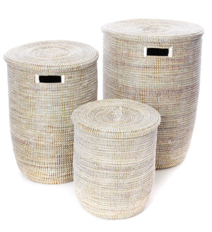 Set of Three Solid White Classic Hampers