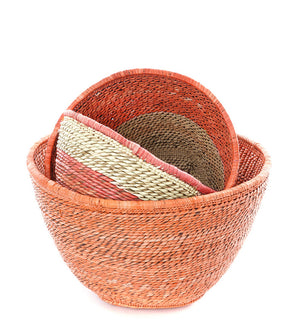 Set of Three Salmon Nesting Baskets from Zambia