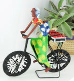 Biking Tomatoes to Market Papier-Mâché Sculpture