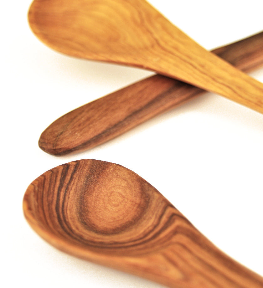 Set of 4 Wild Olive Wood Porridge Spoons