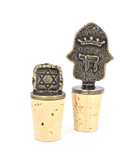 Set of Two Judaica Wine Bottle Stoppers