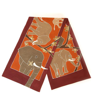 Hand Painted Animal Kingdom Elephant Table Runner