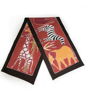 Hand Painted Safari Animals Table Runner